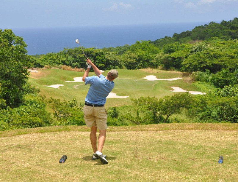 A Male Golfer on a Tropical Golf Course