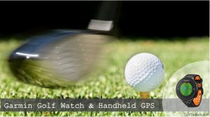 Close up of a golf club in swing about to hit the ball.